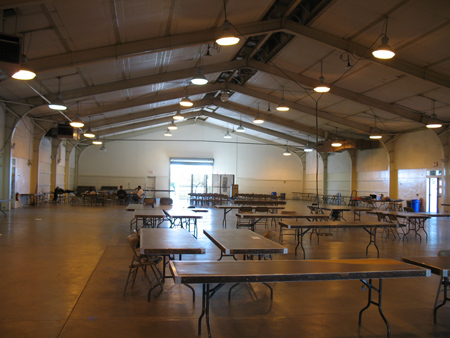 Another building, where lunch, quilts, vendors, and the stage for the fashion show and live auction will be.